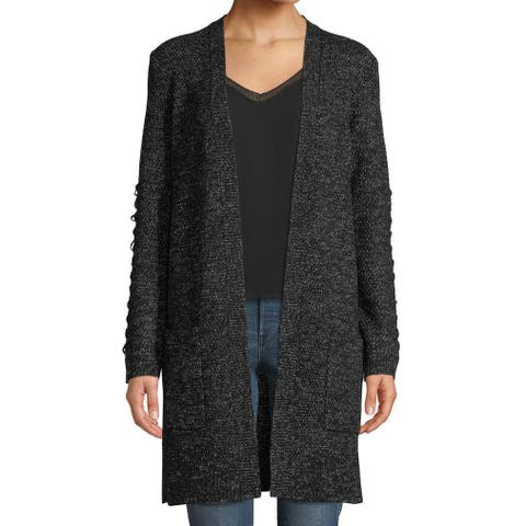 Love Scarlett Women's Black Size Medium M Lace Up Cardigan Sweater