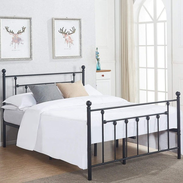shop vecelo beds queen full twin size victorian metal platform beds kids beds box spring. Black Bedroom Furniture Sets. Home Design Ideas