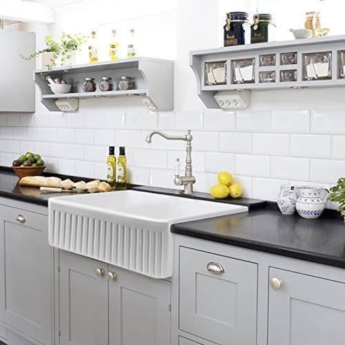 Farmhouse Kitchen Sink White Single Bowl Fireclay With Apron Front Undermount Or Overmount Design Fluted 30 Inches Overstock 14636915