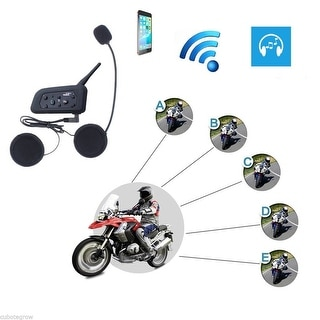 1200M BT Bluetooth Skiing Motorcycle Helmet Interphone Intercom Headset 6 Riders - Black