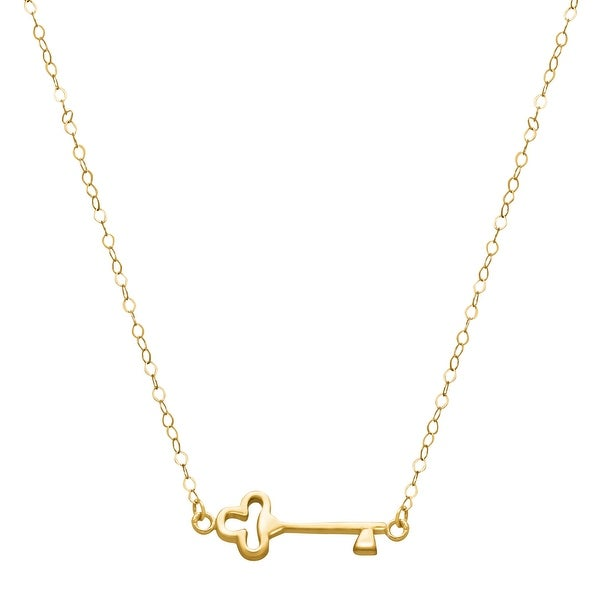 Just Gold Sideways Key Necklace in 14K Yellow Gold