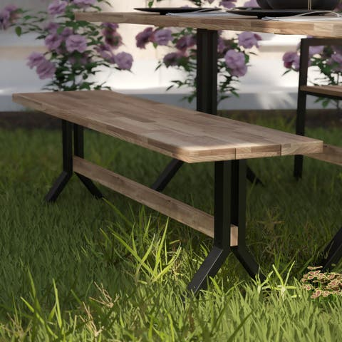 Havenside Home Shenley Contemporary Natural Wood Bench