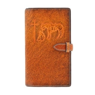 M&F Western Bible Cover Cowboy Prayer Cross Stitched Brown 0