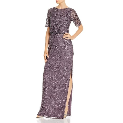 Adrianna Papell Womens Formal Dress Sequined Blouson - Moonscape