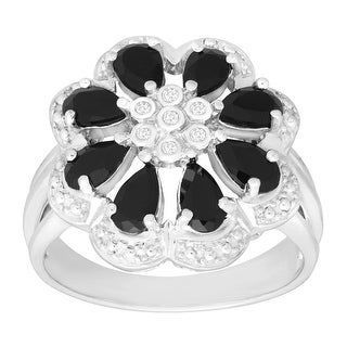 7/8 ct Natural Onyx Flower Ring with Diamonds in Sterling Silver - Black