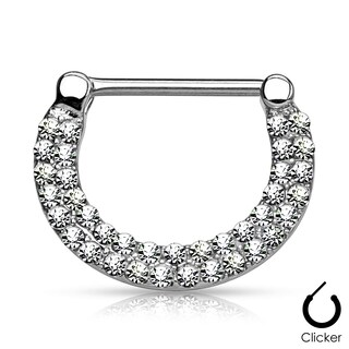 Double Lined Crystals Pave Surgical Steel Nipple Clicker (Sold Ind.) (More options available)