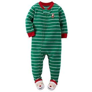 Carter's Baby Girls' Holiday Microfleece 1 Piece Footed Sleeper Pajamas, Green Striped Santa, 4T