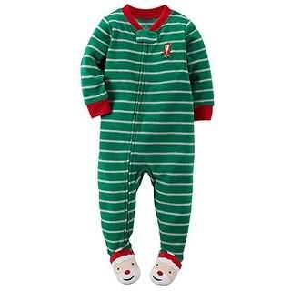 Carter's Little Boys' 1-Piece Fleece Footed Pajamas (3T, Santa) - Multicolored