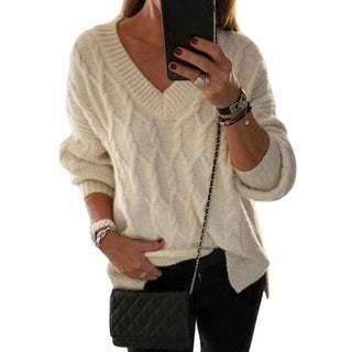 Link to Women's Sweater  Casual V Neck Sheer Loose Oversized Pullover Sweater Similar Items in Women's Sweaters