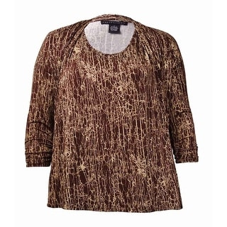 Grace Elements Women's Crackle Print Knit Jersey Top - l