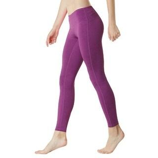 Tesla FYP41 Women's Mid-Waist Ultra-Stretch Yoga Pants - Heather Purple