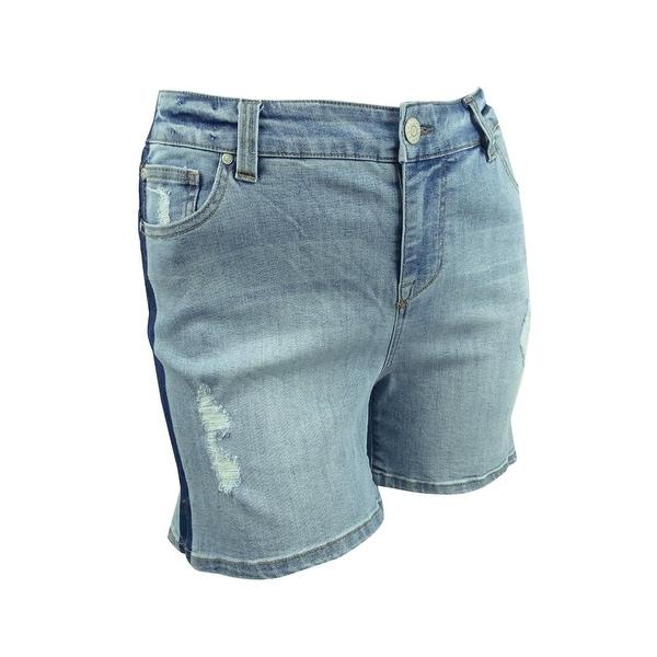 Yours Clothing Women/'s Plus Size Indigo Distressed Denim Shorts