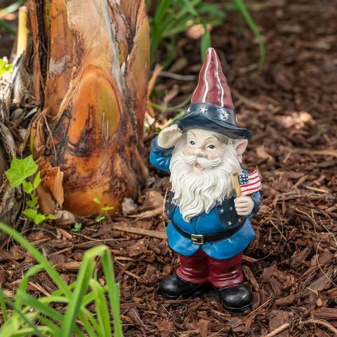 Alpine 12-Inch Outdoor Patriotic Garden Gnome Saluting Yard Statue