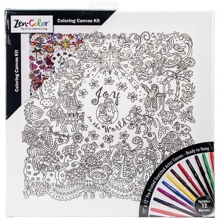 """Adult Holiday Coloring Canvas 12""""X12"""" W/12 Markers-Nativity"""