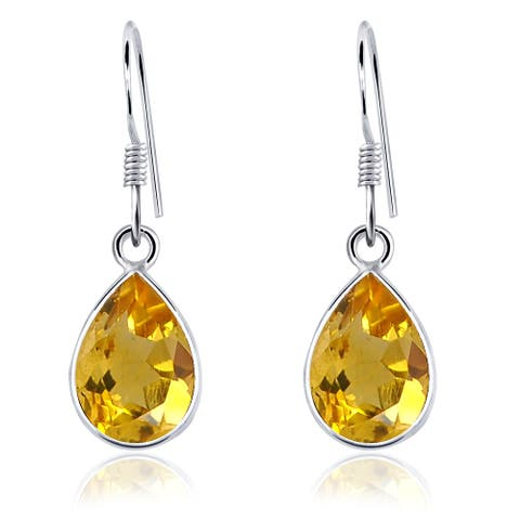 Citrine Sterling Silver Dangle Earrings by Orchid Jewelry