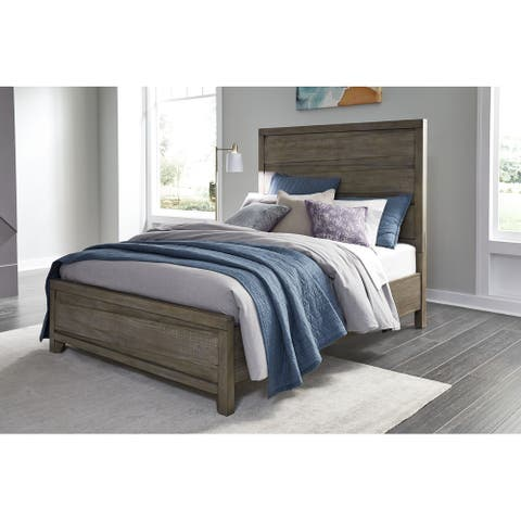 Hearst Solid Wood Panel Bed in Sahara Tan