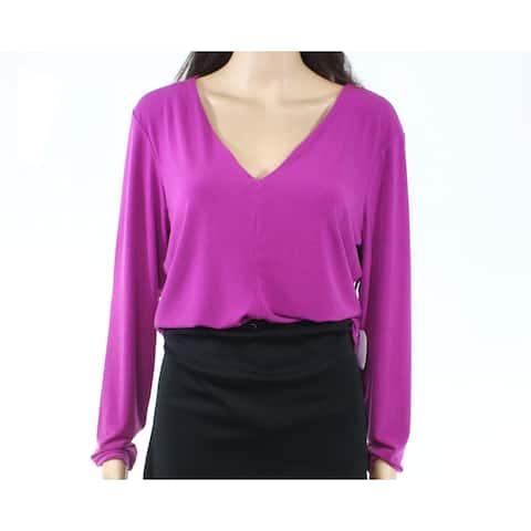 Leith Womens Blouse Purple Size 1X Plus V-Neck Long-Sleeve Bodysuit