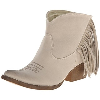 Spite Womens Spektor Ankle Boots Faux Suede Fringe