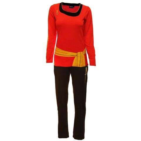 Star Trek Red Uhura Ladies Long Sleeve Costume Pajama Set