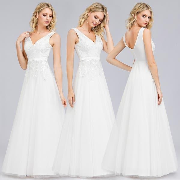 Shop Ever Pretty Womens Embroidery A Line Evening Wedding Dresses