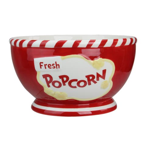 Family Sized Red Gourmet Ceramic Popcorn Bowl - N/A