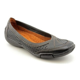 Auditions Verona II Women WW Round Toe Leather Black Flats