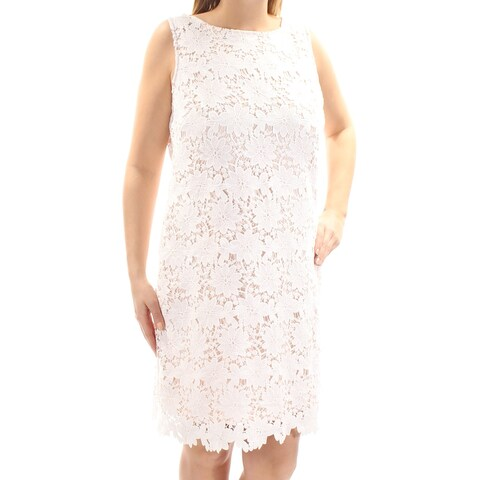 JESSICA HOWARD Womens Ivory Lace Floral Sleeveless Jewel Neck Above The Knee Dress Size: 14