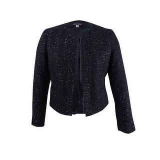 Nine West Women's Plus Size Sequined Tweed Blazer - Black Multi