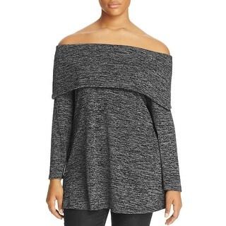 Nally & Millie Womens Plus Marilyn Shawl-Collar Sweater Shawl Off-The-Shoulder