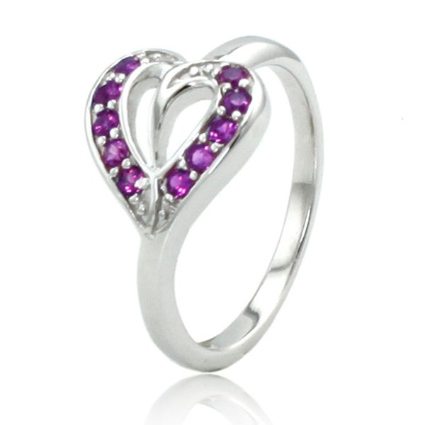 Sterling Silver Heart Leaf Ring w/ Amethyst Color Cubic Zirconia