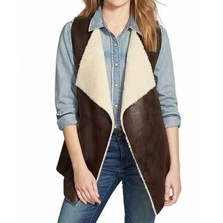 Nordstrom NEW Brown Women's Size Large L Faux Fur Sleevless Vest Jacket
