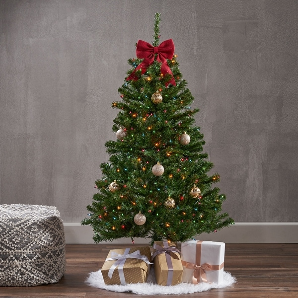 4.5-foot Noble Fir Pre-Lit String Light or Unlit Hinged Artificial Christmas Tree by Christopher Knight Home. Opens flyout.