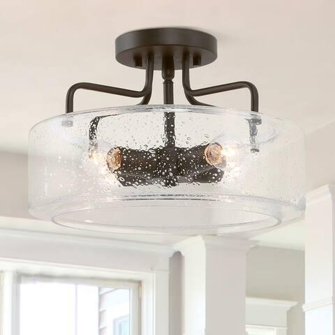 Modern 4-Light Glass Metal Semi-flush Mount Orb Ceiling Lights