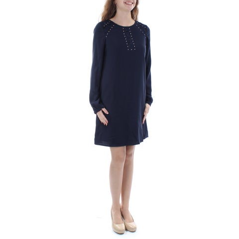 JESSICA SIMPSON Womens Navy Embellished Long Sleeve Jewel Neck Above The Knee Shift Dress Size: 2