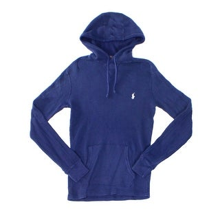 Polo Ralph Lauren NEW Blue Navy Mens Size XS Hooded Waffle-Knit Sweater