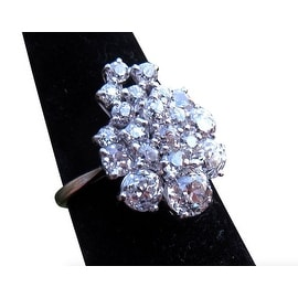 3.25TCW 18K European-cut VS Diamond Cluster One of a Kind Estate Ring 7 3/4