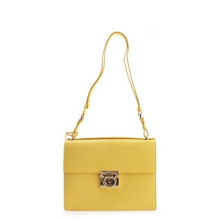 Salvatore Ferragamo Ginny Leather Shoulder Handbag - Yellow - M