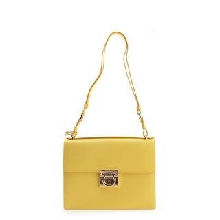 Salvatore Ferragamo Ginny Leather Shoulder Handbag - Yellow - M