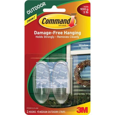Command 17091CLR-AW Outdoor Window Hooks, Clear, Medium
