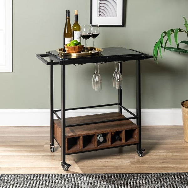 Faux Marble Serving Bar Cart with Dark Walnut Base. Opens flyout.