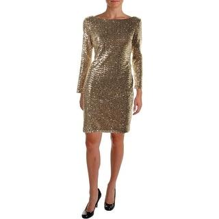 Lauren Ralph Lauren Womens Petites Sequined Sheath Cocktail Dress