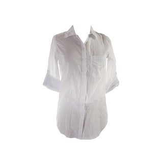 Polly & Esther Juniors White Long-Sleeve Pocket Cotton Shirt S