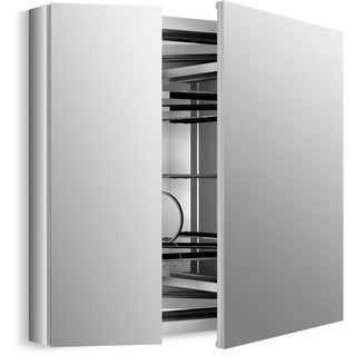 "Kohler K-99009-SCF Verdera 30"" x 34"" Two Door Mirrored Medicine Cabinet with Plain Mirror and Three Adjustable Shelves and Slow"