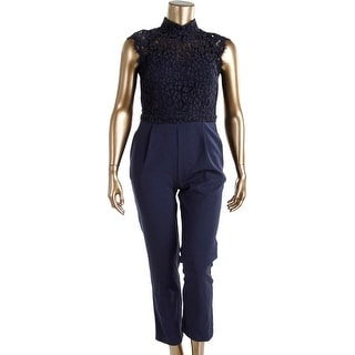 Adelyn Rae Womens Sleeveless Lace Overlay Jumpsuit - L