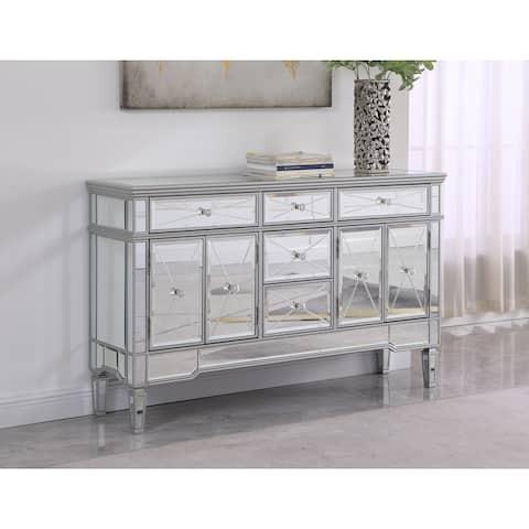 Best Master Furniture 5 Drawer Silver Mirrored Cabinet