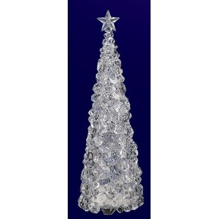 "Pack of 2 Icy Crystal Illuminated Christmas Ice Cube Tree Figurines 14"""
