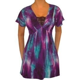 Funfash Plus Size Black Purple Lace Womens Top Slimming Shirt Blouse