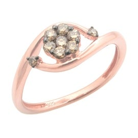 Brand New 0.30ct Round Brilliant Cut Brown Color Natural Diamond Engagement Ring