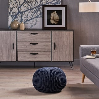 Link to Abena Knitted Cotton Pouf by Christopher Knight Home Similar Items in Decorative Accessories