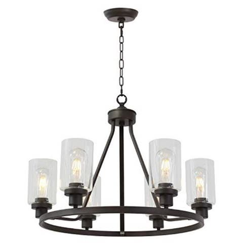 6 light island glass round chandelier with rubbed bronze finish